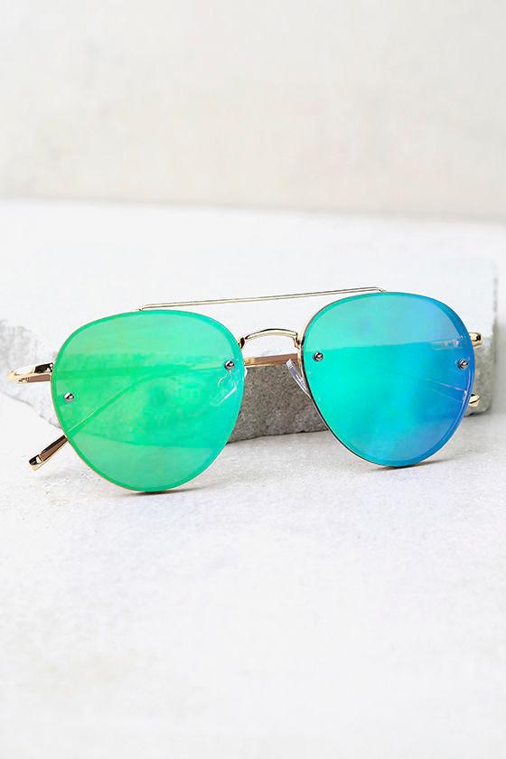 6a9f2fa8f47d Cute Green Mirrored Sunglasses- Gold Aviator Sunglasses - Green ...