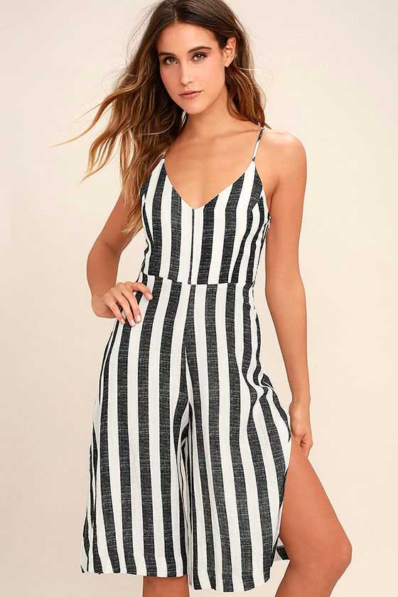 Chic Black and White Striped Jumpsuit - Midi Jumpsuit - Wide-Leg ...