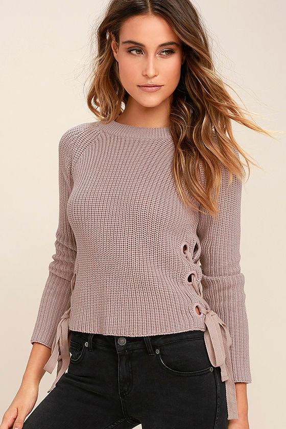 Cute Beige Sweater - Lace-Up Sweater - Knit Sweater -  45.00 153398756
