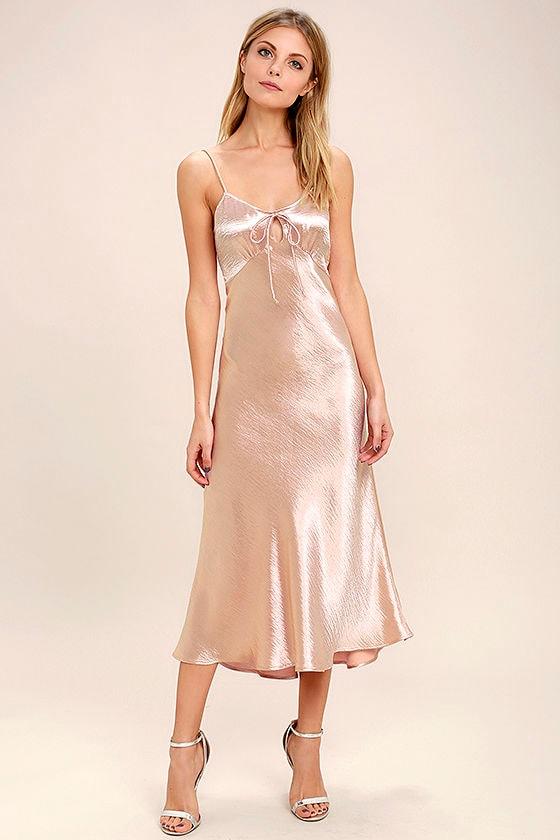 Serenade Me Blush Pink Satin Midi Dress 1