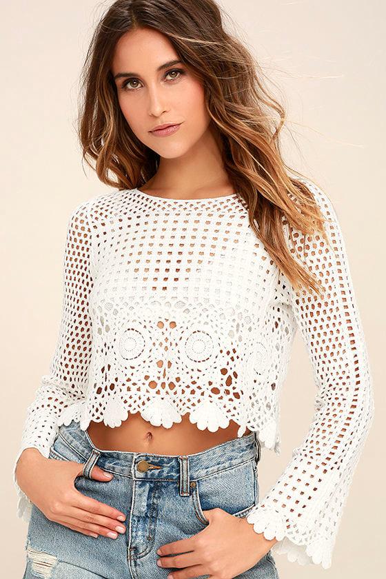 Crystal Grid White Crochet Long Sleeve Crop Top 1