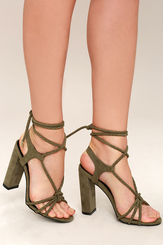 Ophelia Olive Suede Lace-Up Heels 2