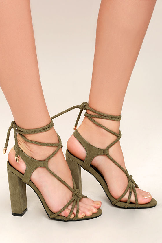 Ophelia Olive Suede Lace-Up Heels 4