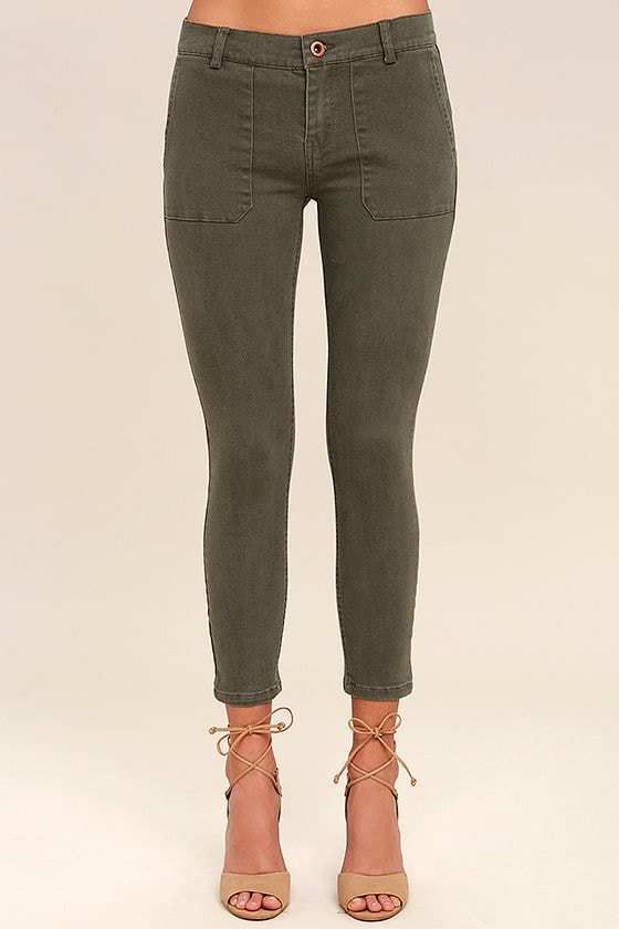 White Crow Jeans - Olive Green Skinny Jeans - Cargo Pocket Jeans ...