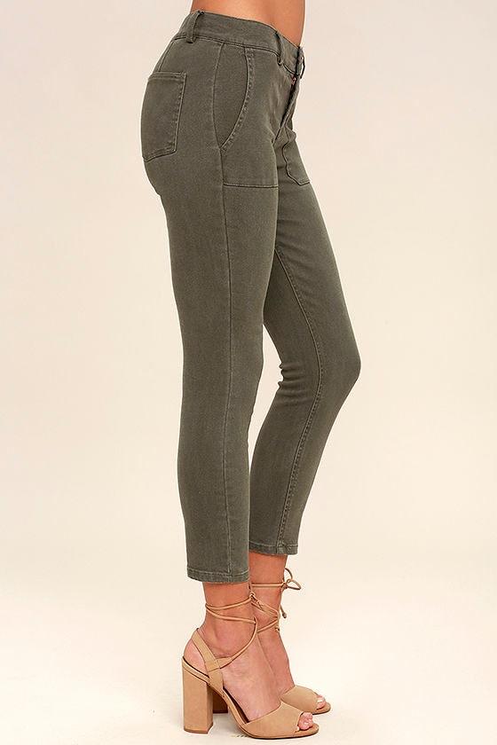 White Crow Skyline Olive Green Skinny Jeans 3
