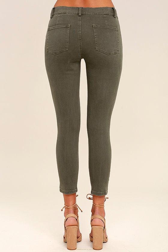 White Crow Skyline Olive Green Skinny Jeans 4