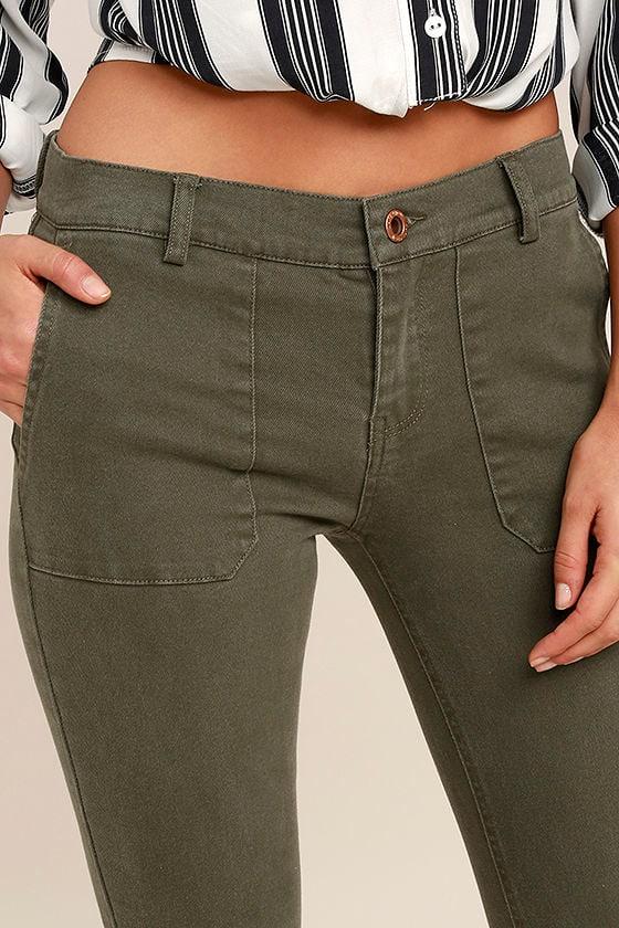 White Crow Skyline Olive Green Skinny Jeans 5