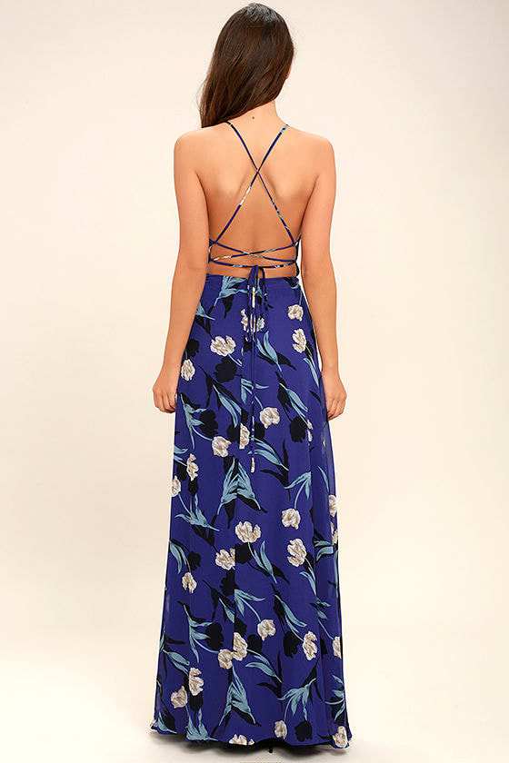 All I Need Royal Blue Floral Print Lace-Up Maxi Dress 4