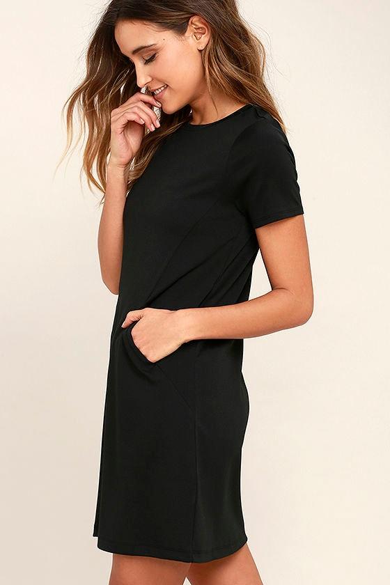 Comfy Black Dress - T-Shirt Dress - Shift Dress - Knit Shift Dress ...