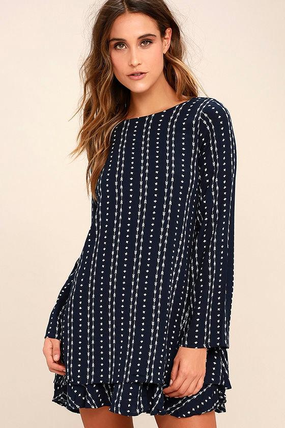 Odessa Navy Blue Print Long Sleeve Swing Dress