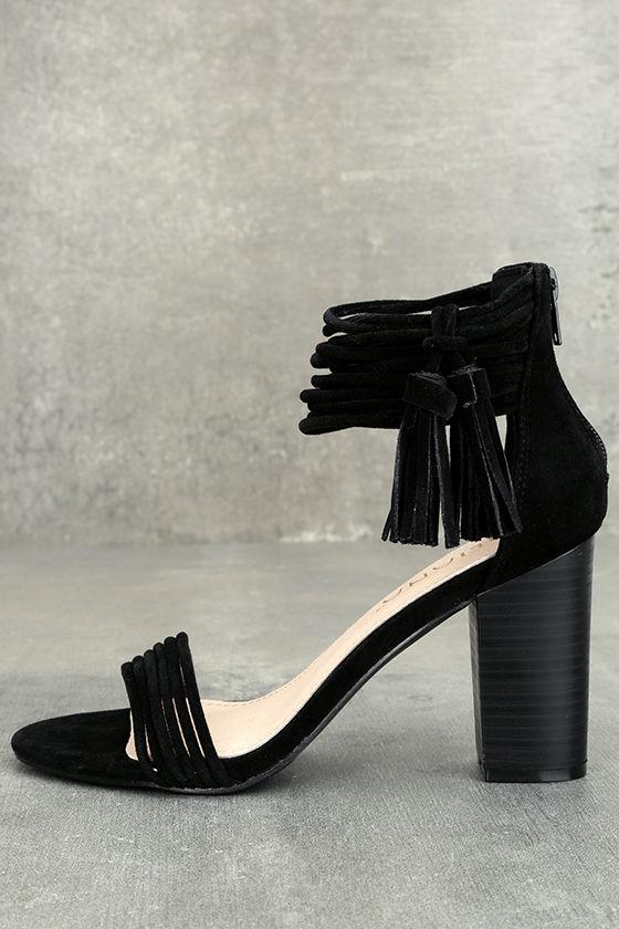 Parvati Black Suede Ankle Strap Heels 1