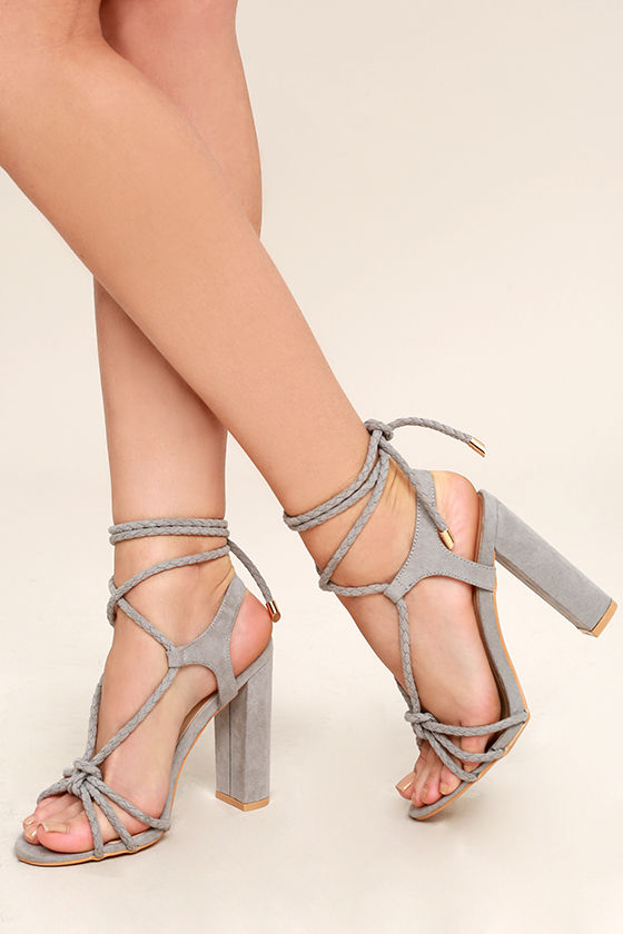 d7e770fc899 Chic Grey Suede Heels - Lace-Up Heels - Braided Heels -  41.00