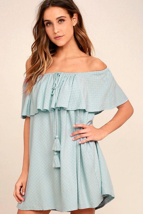 a55d14d173 Chic Light Blue Dress - Off-the-Shoulder Dress - Blue Shift Dress - $64.00