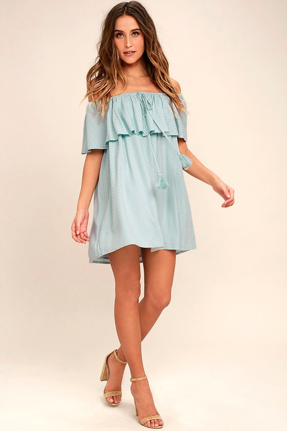 94d2777094 Chic Light Blue Dress - Off-the-Shoulder Dress - Blue Shift Dress ...