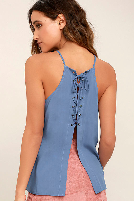 Laced Back Denim Blue Lace-Up Top 1
