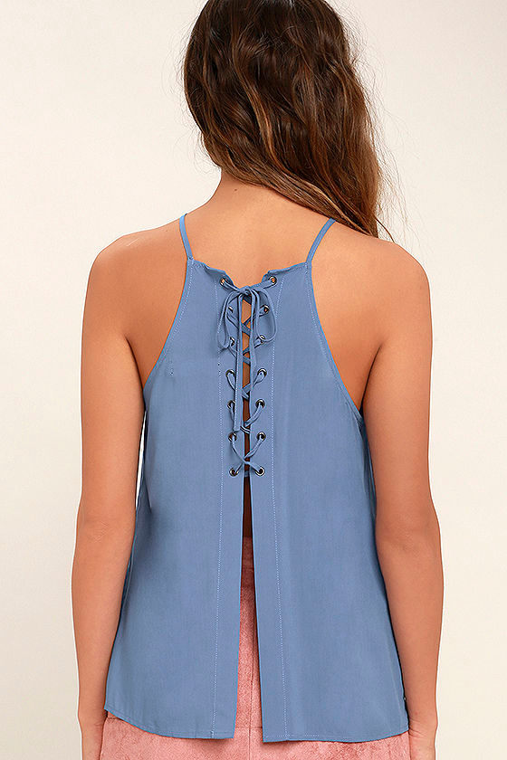 Laced Back Denim Blue Lace-Up Top 4