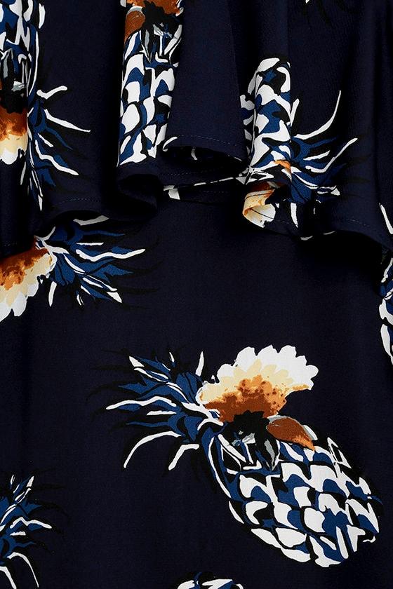 Pineapple Isle Navy Blue Print Dress 6