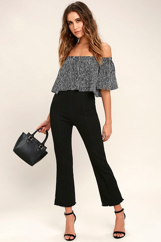 Michigan Avenue Black High-Waisted Cropped Flare Jeans 1