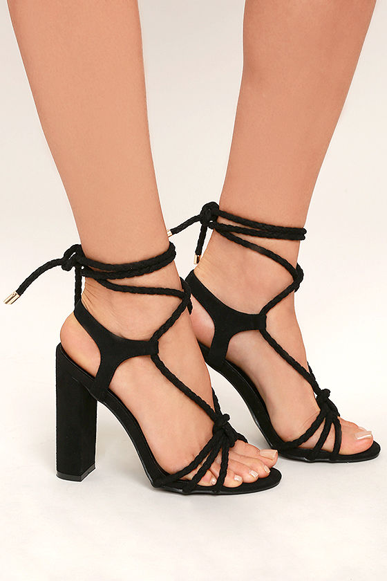 Ophelia Black Suede Lace-Up Heels 3