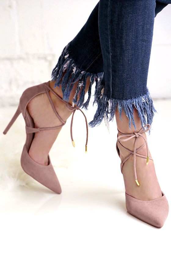 Dani Dusty Rose Suede Lace-Up Heels 1