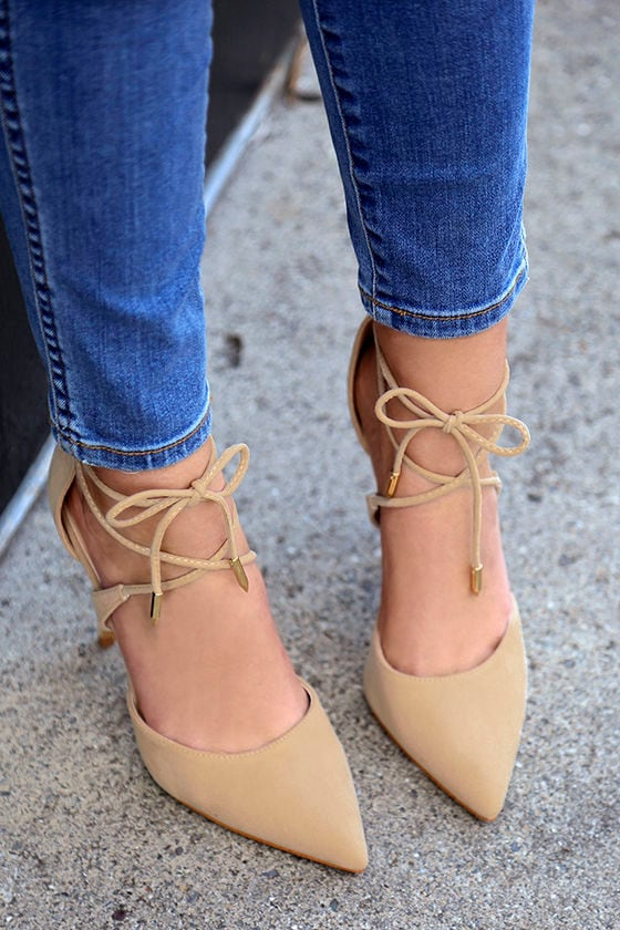 30223c44d98 Dani Nude Suede Lace-Up Heels