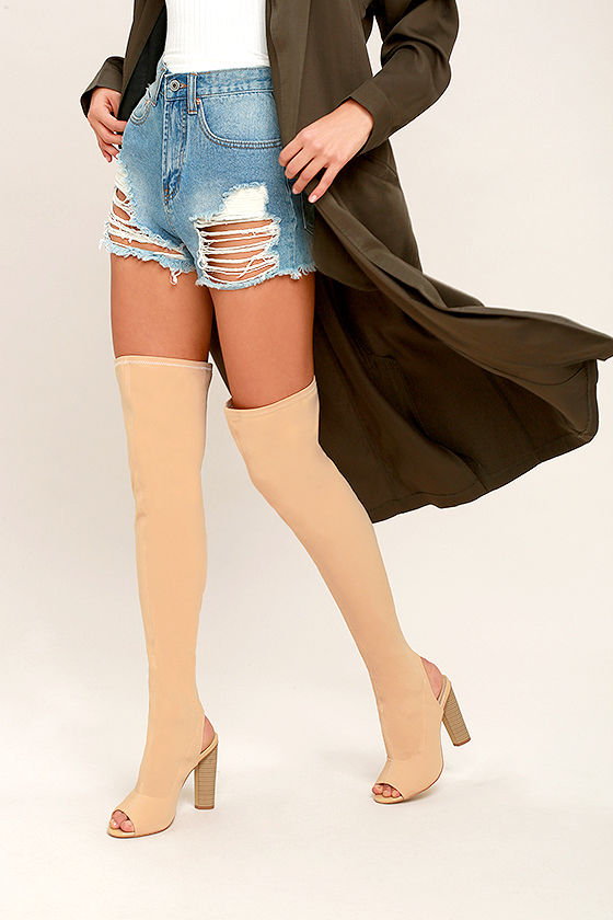 9d6ff8b35848 Sexy Nude OTK Boots - Peep-Toe Boots - Knit Over the Knee Boots - $63.00