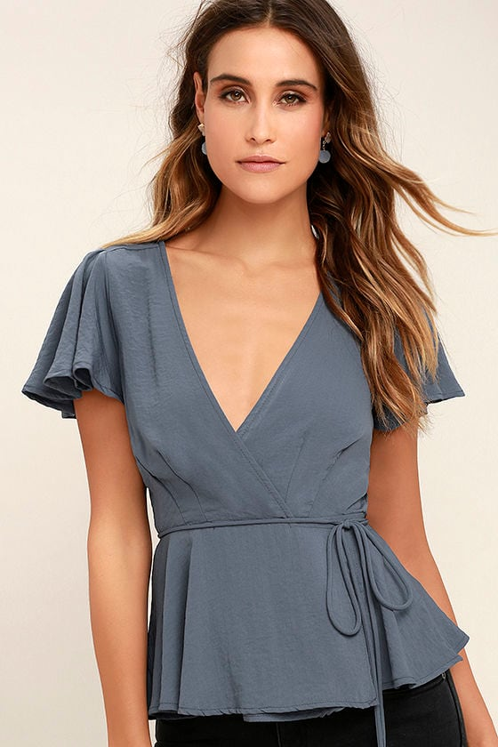 Modern Gal Slate Blue Wrap Top 1
