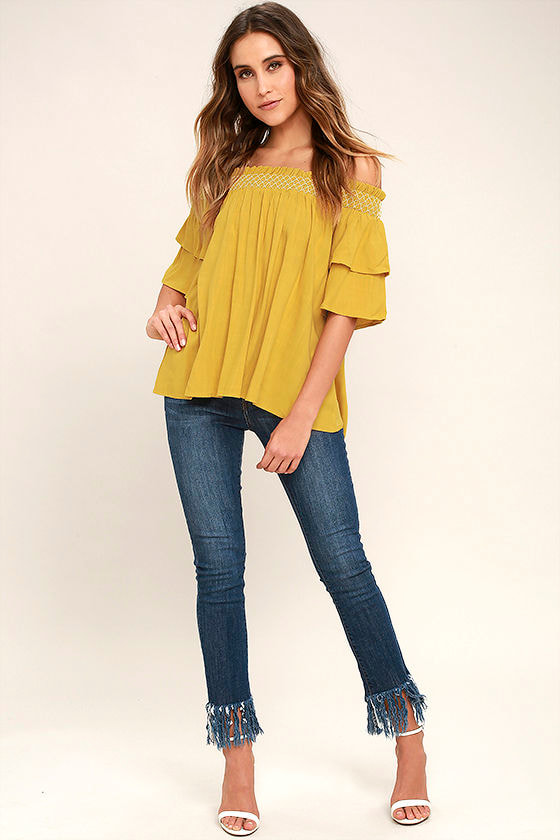 Cute Chartreuse Top Off The Shoulder Top