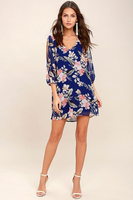 Shifting Dears Royal Blue Floral Print Long Sleeve Dress 2