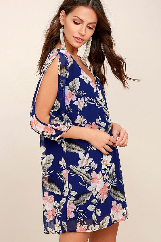 Shifting Dears Royal Blue Floral Print Long Sleeve Dress 3