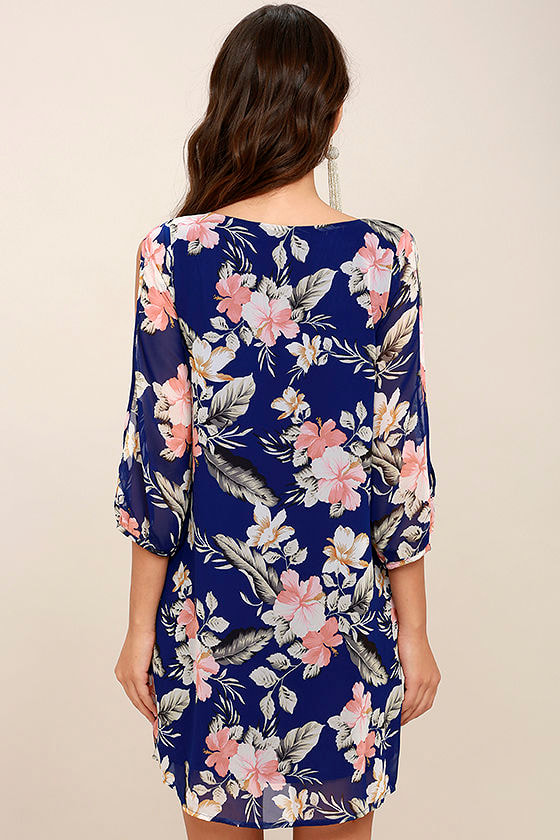 Shifting Dears Royal Blue Floral Print Long Sleeve Dress 4