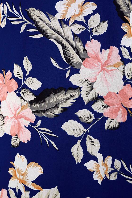 Shifting Dears Royal Blue Floral Print Long Sleeve Dress 6