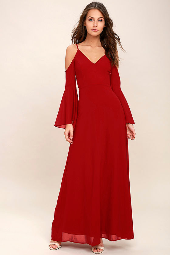 ff8d564b31d Stunning Red Maxi Dress - Off-the-Shoulder Maxi Dress - Cold ...