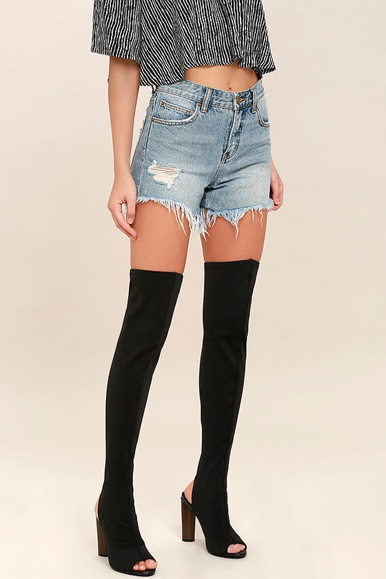 811cd34727fe Sexy Black OTK Boots - Peep-Toe Boots - Knit Over the Knee Boots - $63.00