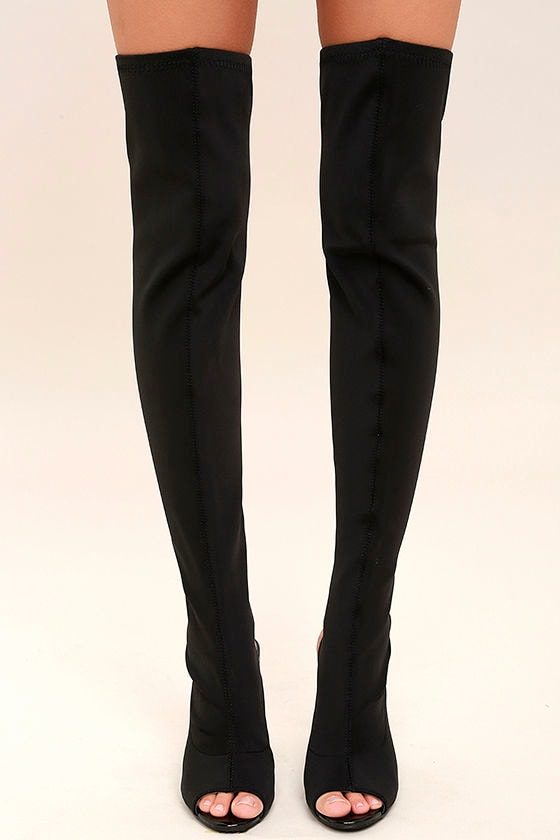 Sexy Black OTK Boots - Peep-Toe Boots - Knit Over the Knee Boots ...