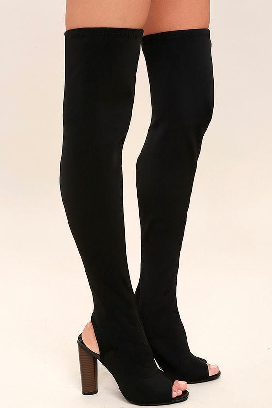 Nala Black Peep-Toe Over the Knee Boots 3