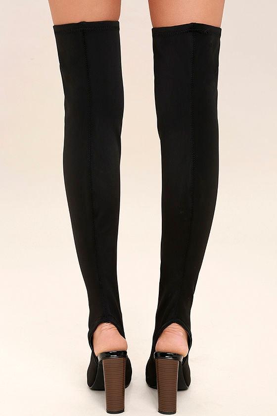 Nala Black Peep-Toe Over the Knee Boots 4