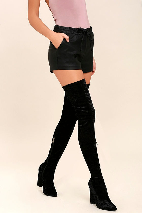 Lovely Black Thigh High Boots - Velvet Boots - OTK Boots - $49.00