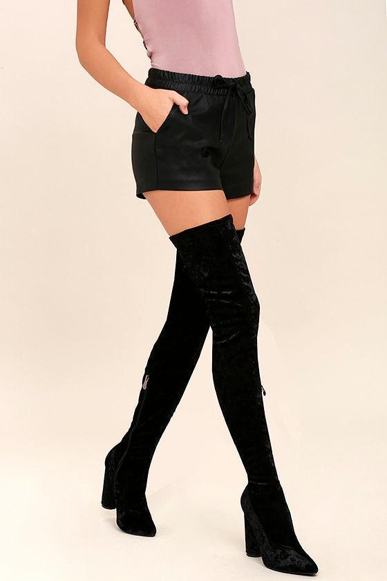 c60f5980422c Lovely Black Thigh High Boots - Velvet Boots - OTK Boots -  49.00