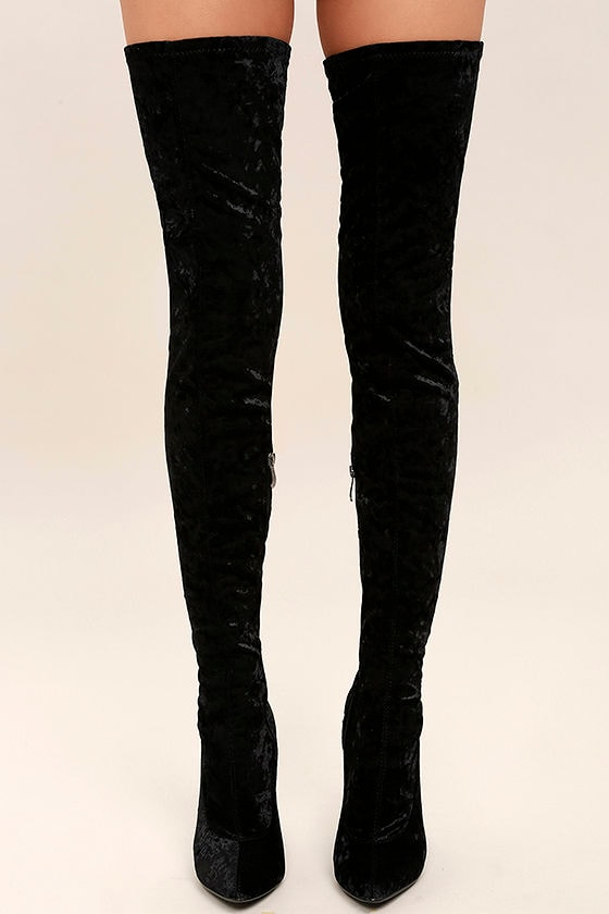 33bc648feee Lovely Black Thigh High Boots - Velvet Boots - OTK Boots -  49.00