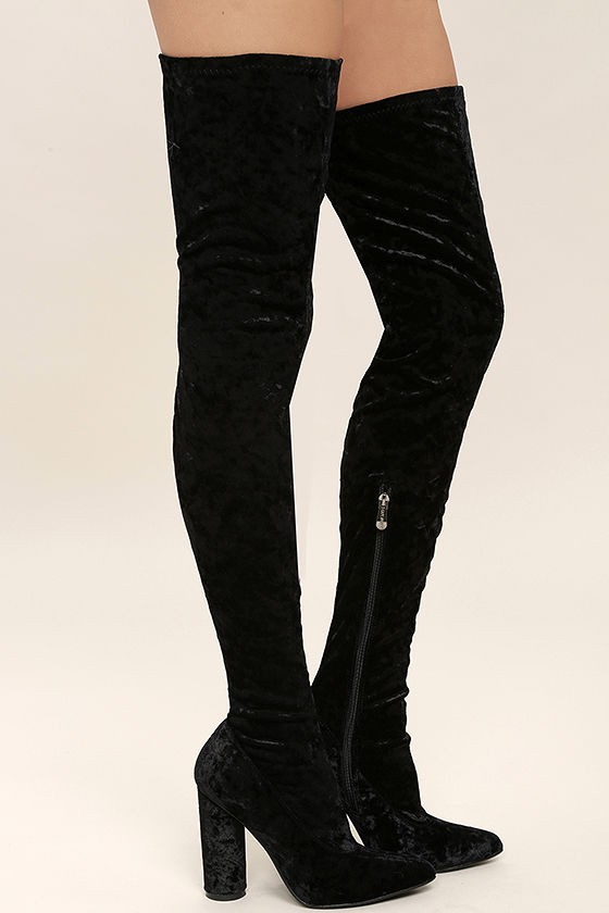Lovely Black Thigh High Boots - Velvet Boots - OTK Boots - $49.00