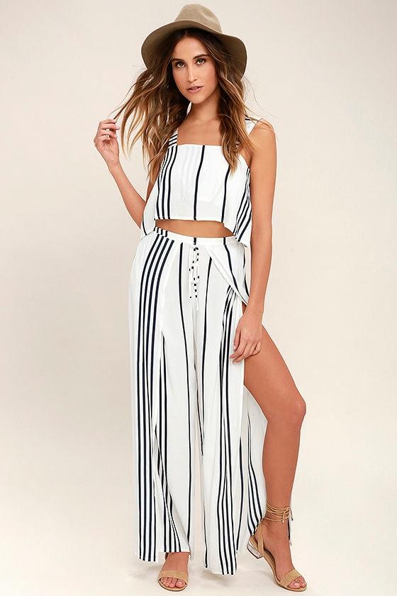 Faithfull the Brand Montero Black and White Striped Pants 1