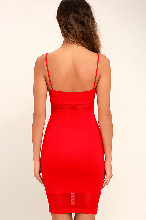 Something Between Us Red Bodycon Midi Dress 4