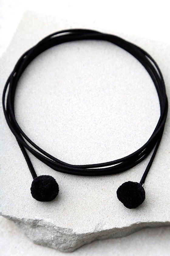 Puppy Love Black Pompom Wrap Necklace 2