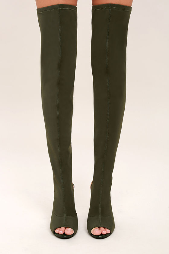 7c006f928549 Sexy Olive OTK Boots - Peep-Toe Boots - Knit Over the Knee Boots ...