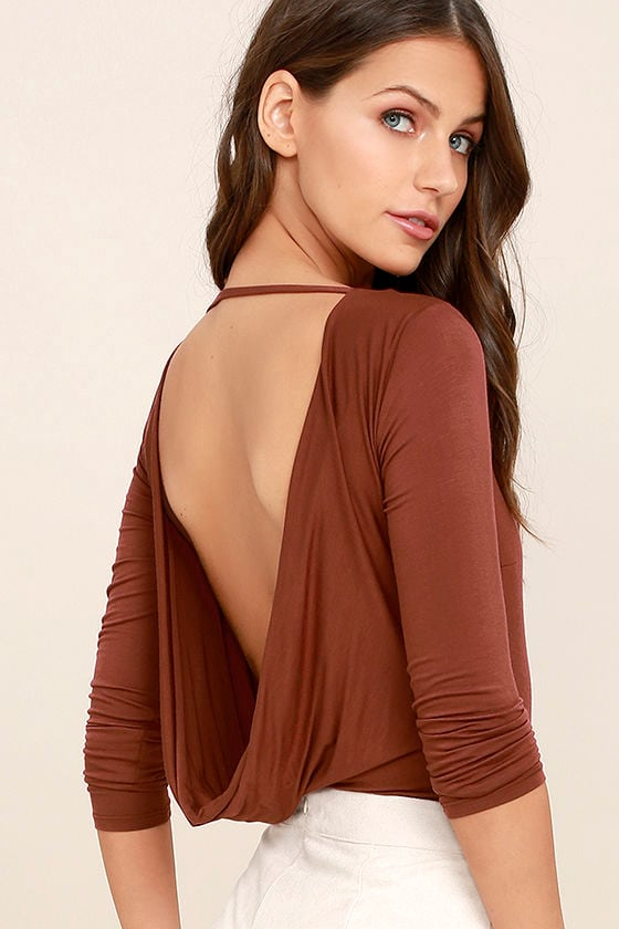 Hype-Worthy Washed Burgundy Backless Bodysuit 1