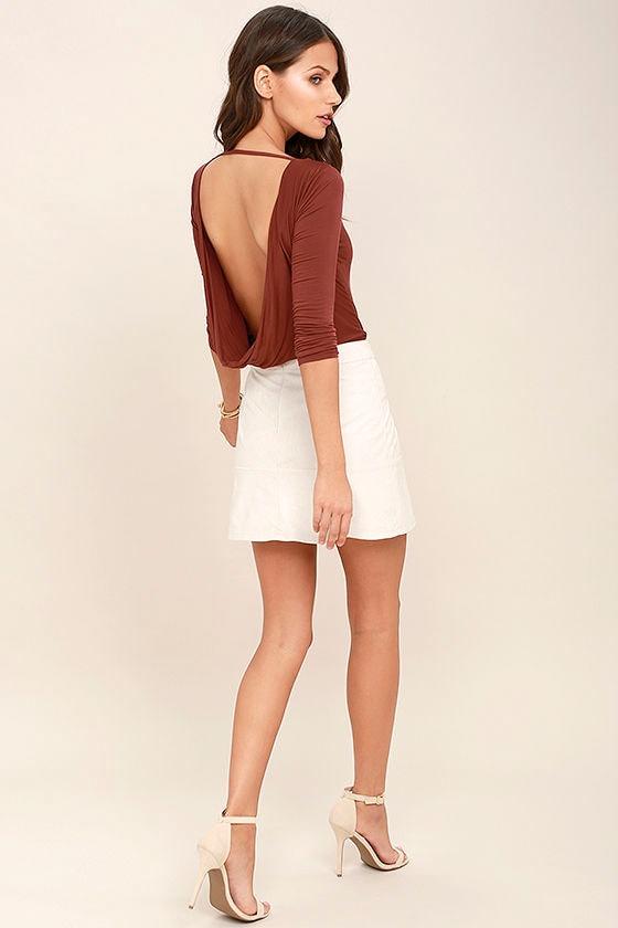 Hype-Worthy Washed Burgundy Backless Bodysuit 2