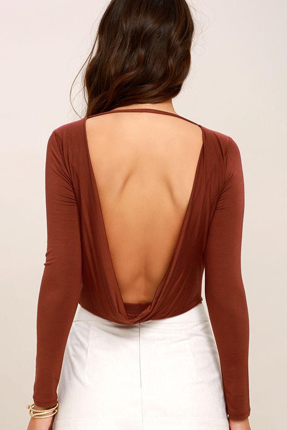 Hype-Worthy Washed Burgundy Backless Bodysuit 5