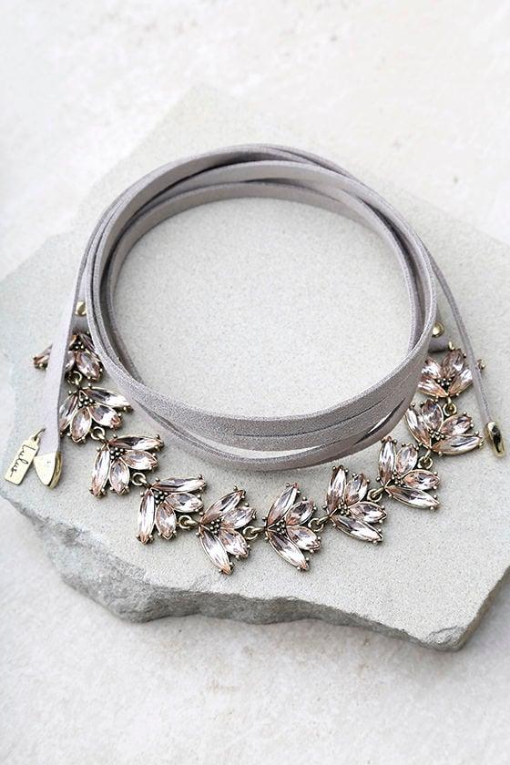 Keys to the Kingdom Grey Rhinestone Wrap Necklace 2