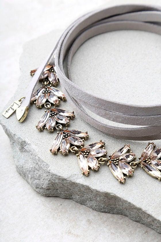 Keys to the Kingdom Grey Rhinestone Wrap Necklace 3